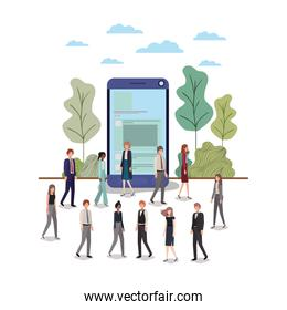 smartphone with people around avatar character