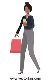 young woman with shopping bag avatar character