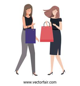 young women with shopping bag avatar character