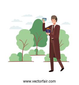 man with coin purse and credit card in landscape