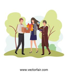 group business people with element in landscape