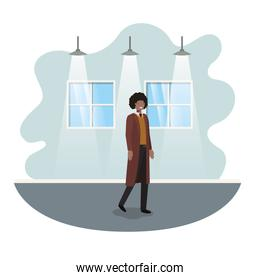 businessman with wall and windows avatar character