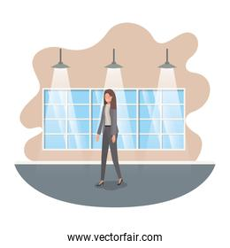 businesswoman with wall and windows avatar character