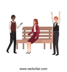 group of business in park chair avatar character