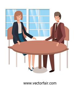 couple seated in the living room avatar character