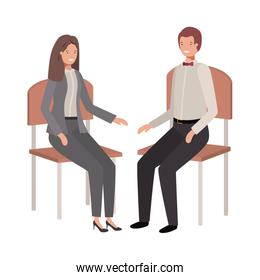 couple of business sitting in chair avatar character