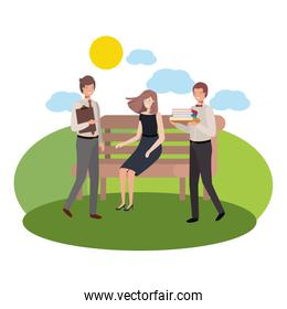 group of business in park chair with landscape