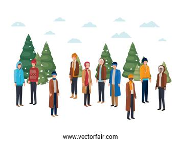 group of people with winter clothes and christmas trees avatar character