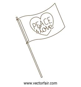 peace and love on flag isolated icon