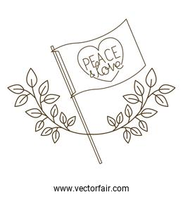 peace and love with heart isolated icon
