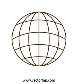 earth globe with parallels and meridians isolated icon