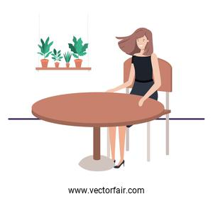 businesswoman sitting in the living room