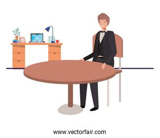 businessman sitting in the living room