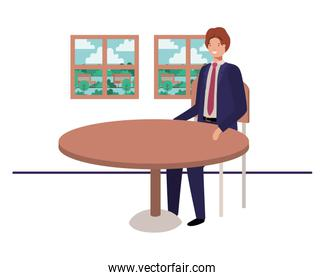 businessman sitting with view the landscape by window