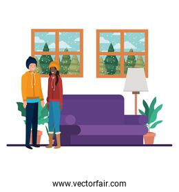 couple living room with view the landscape by window