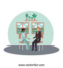business people sitting with view landscape by window