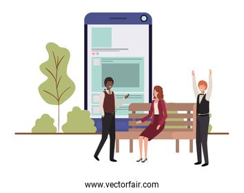 group of people business with smartphone