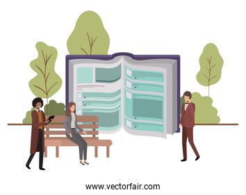 group of people business with open book