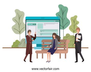 group of people business with computer desktop