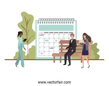 group of people business with calendar reminder