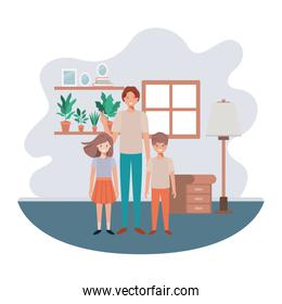 father and children in livingroom avatar character