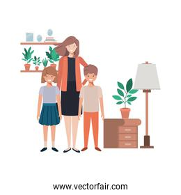 mother and children in living room avatar character