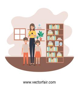 mother and children in livingroom avatar character