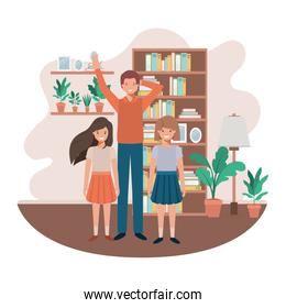 father and daughters in livingroom avatar character