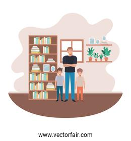 father and sons in livingroom avatar character
