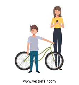 mother and son with bicycle avatar character