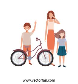 mother and children with bicycle avatar character