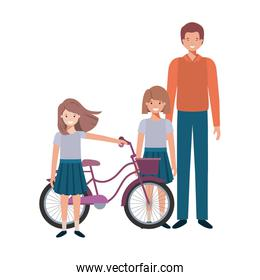 father and daughters with bycicle avatar character