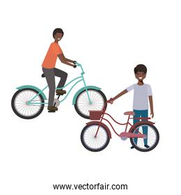 father and son with bicycle avatar character
