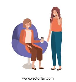 young women sitting in chair
