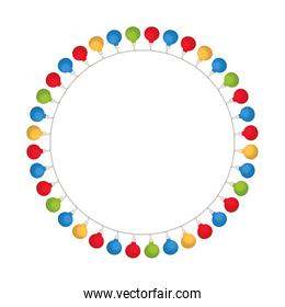 christmas lights in a circle isolated icon