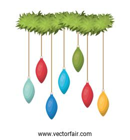 garland with christmas balls isolated icon