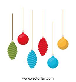 christmas balls decoration hanging isolated icon