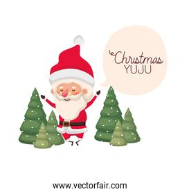 santa claus with speech bubble about christmas and trees