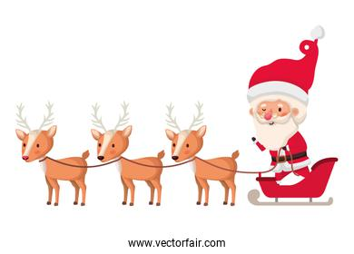 santa claus on sleigh with reindeer avatar character