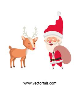 santa claus with reindeer avatar character