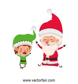 santa claus with elf moving avatar character