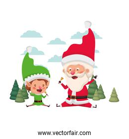 santa claus with elf moving with christmas trees