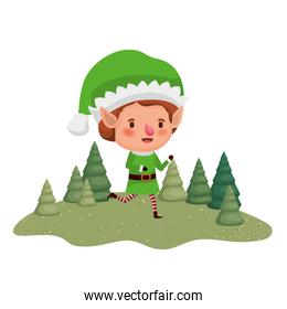 elf moving with christmas trees avatar character