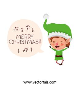 elf with speech bubble about christmas avatar character