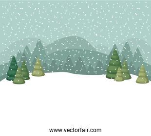 christmas trees with falling snow icon