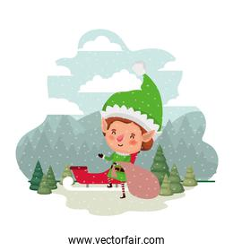elf with sleigh and christmas trees with falling snow