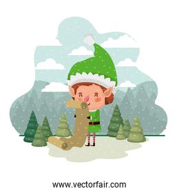 elf with list gifts and christmas trees with falling snow