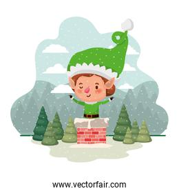 elf with fireplace and christmas trees with falling snow