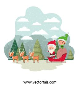 santa claus with elf in sleigh avatar character