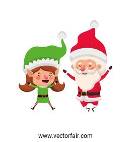 santa claus with elf woman moving avatar character